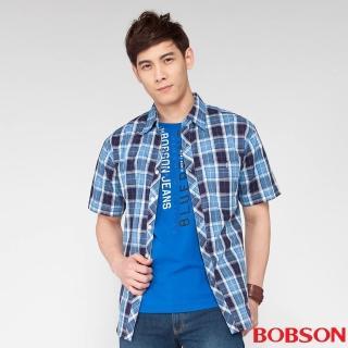 【BOBSON】男款格紋短袖襯衫(藍53)