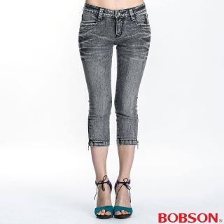 【BOBSON】女款側拉鍊裝飾七分褲(灰87)