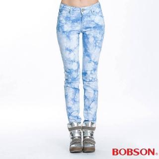 【BOBSON】女款綁染小直筒褲(水藍51)