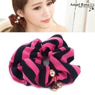 【Angel Rena】經典條紋˙水晶珠珠墜飾髮束(桃紅黑)