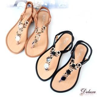 【☆Deluxe☆】夏日微風-清涼微露Y字線條飾扣夾腳涼鞋(★黑/棕)