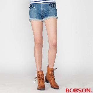 【BOBSON】女款高腰燙鑽鋁牛仔短褲(藍210-58)