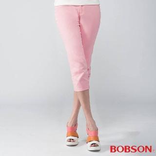 【BOBSON】女款刺繡鑽飾七分褲(粉212-10)
