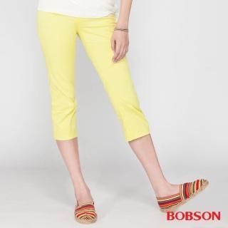 【BOBSON】女款刺繡鑽飾七分褲(黃212-31)
