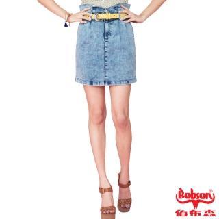 【BOBSON】女款高腰頭牛仔短裙(藍D093-58)