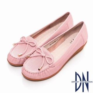 【DN】通勤首選 減壓全真皮蝴蝶結楔型包鞋(粉)