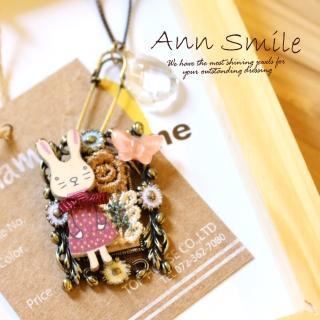 【微笑安安】韓製專櫃款小兔別針方框細緻長項鍊