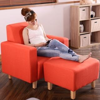 【FOLA漾桔品味】單人亞麻布沙發含小腳椅