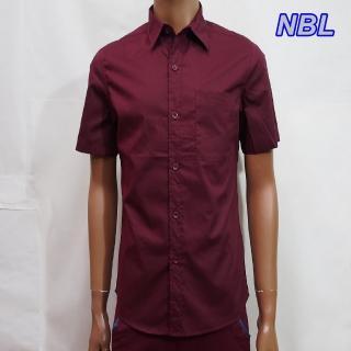 【NBL-NEWBOYLONDON】T0463B淺藍色R酒紅色素面短袖襯衫(零碼出清虧本價)