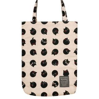 【San-X】小襪貓貓咪黑圓點系列棉布手提袋(米)