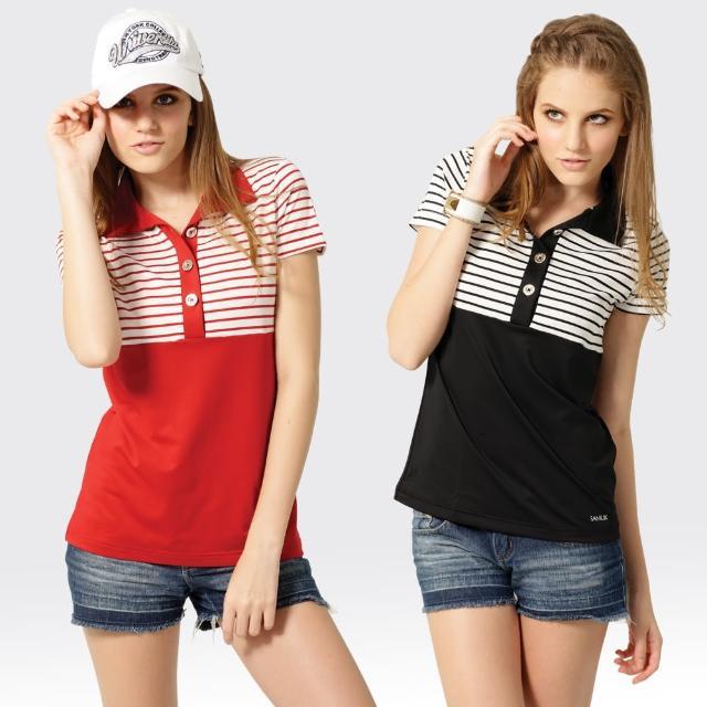 【SAMLIX 山力士】女款 MIT 台灣製 韓版 吸濕排汗   短袖  POLO衫#SP209(黑色.紅富邦購物中心色)