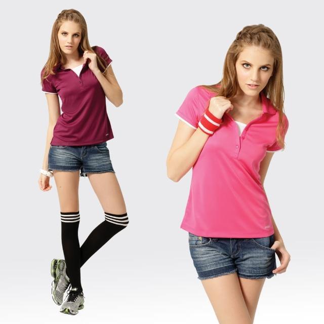 【開箱心得分享】MOMO購物網【SAMLIX 山力士】女款 MIT 台灣製  假兩件式 吸濕排汗 涼感紗  羅紋領 短袖  POLO衫#SP210(紫色.桃紅)好嗎富邦momo電話