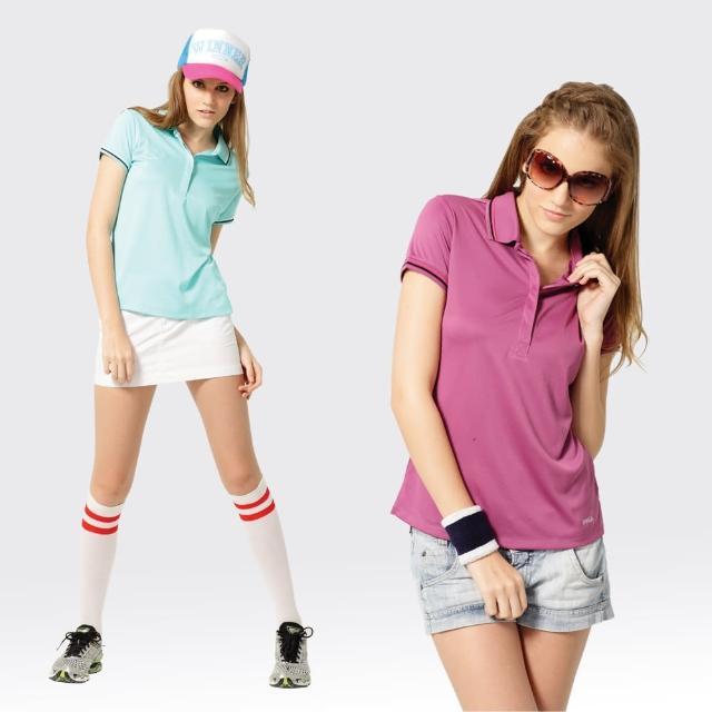 【好物推薦】MOMO購物網【SAMLIX 山力士】女款 MIT 台灣製  吸濕排汗 涼感紗  羅紋領 短袖  POLO衫#SP212(淺紫.藍綠)效果好嗎富邦購物台