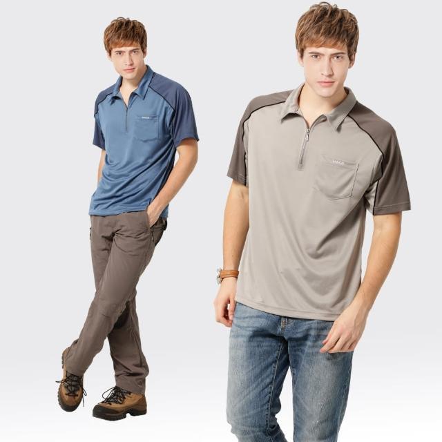 【SAMLIX 山力士】男款 MIT 台灣製  吸濕排汗 陶瓷紗   短袖  POLO衫#SP10momo客服中心7(灰色.藍色)