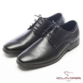 【CUMAR】超輕軟底-真皮綁帶舒適皮鞋(黑)