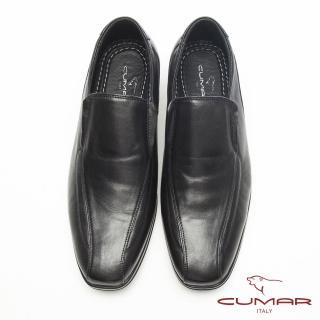 【CUMAR】超輕軟底-簡約美型舒適皮鞋(黑)