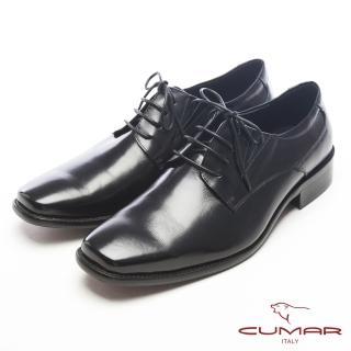 【CUMAR】自信品味-真皮綁帶型紳士皮鞋(黑)