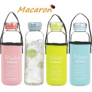 【馬卡龍】冷熱兩用玻璃水瓶600mlx4入組(附提把式保護套隨機出貨)
