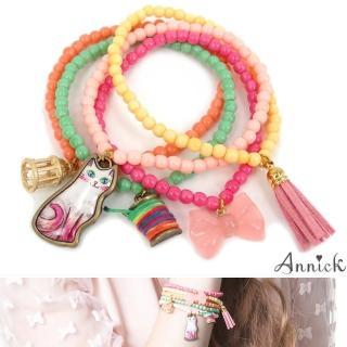 【Annick】Q Kitten蝴蝶結彩珠五圈式手鍊手環組