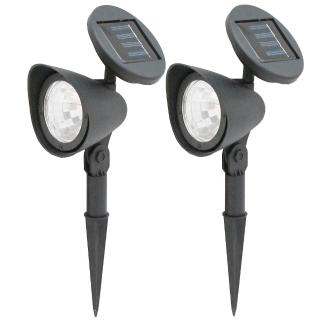 【月陽】可調太陽能充電式自動光控3LED庭園燈草坪燈插地燈超值2入(50112)