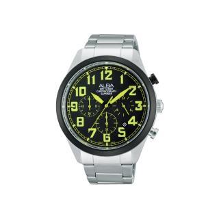 【ALBA】街頭玩酷時尚三眼計時腕錶-黑x綠時標/44mm(VD53-X170G  AT3595X1)