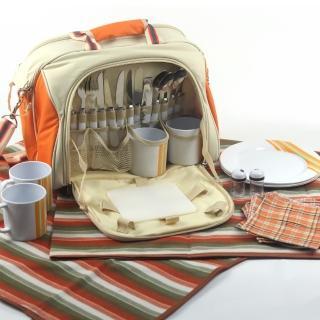 【四人野餐精緻組合提包】含地墊(復古經典款)