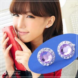 【維克維娜】傲然亮眼。亮圓鑽鑲紫水鑽氣質耳環。925純銀耳環