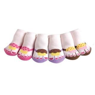 【美國 Jazzy Toes】時尚造型棉襪/止滑襪/假鞋襪_三入禮盒組_杯子蛋糕組(JT3-02)