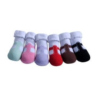 【美國 Jazzy Toes】時尚造型棉襪/止滑襪/假鞋襪/嬰兒襪_六雙入禮盒組_T造型瑪莉珍(JT6-15)