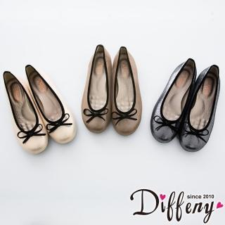 【Diffeny】人氣不敗 金蔥蝴蝶結豆豆底娃娃鞋(金 / 米 / 灰)