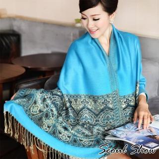 【Seoul Show】波西風情 純棉編織圍巾(孔雀藍)