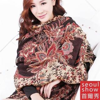 【Seoul Show】葉飄香砌 純棉編織圍巾(咖啡)