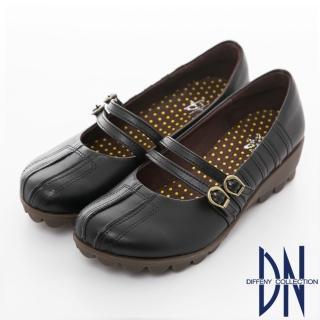 【DN】手縫氣墊 高密度全真皮舒適休閒鞋(黑)