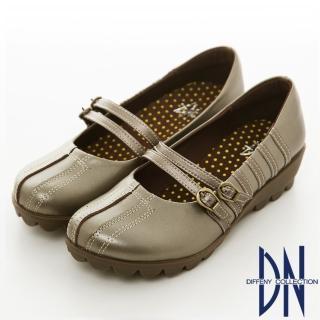 【DN】手縫氣墊 高密度全真皮舒適休閒鞋(灰)