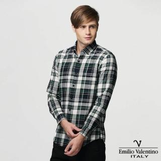 【Emilio Valentino 范倫提諾】水洗格紋長袖襯衫(灰綠)