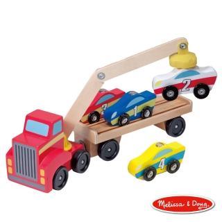 【美國瑪莉莎 Melissa & Doug】原木交通工具 - 磁力吊車