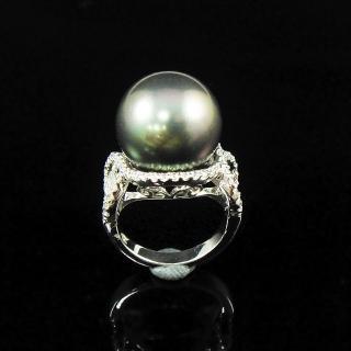 【蕾帝兒珠寶】-永恆黑色深海貝殼珍珠戒指