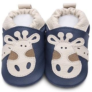 【英國 shooshoos】安全無毒真皮手工學步鞋/嬰兒鞋_海軍藍長頸鹿_ANV10(適合爬行、搖晃學習走路寶寶穿)