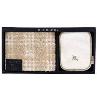 【BURBERRY】經典戰馬LOGO化妝盥洗包禮盒組(駝色/白色)