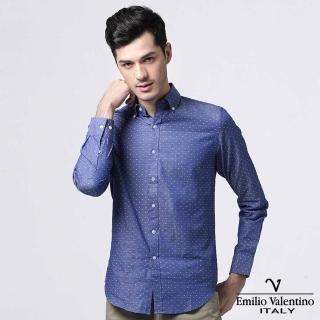 【Emilio Valentino 范倫提諾】圓點緹花修身襯衫(藍)