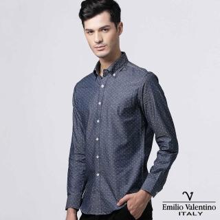 【Emilio Valentino 范倫提諾】圓點緹花修身襯衫(深藍)