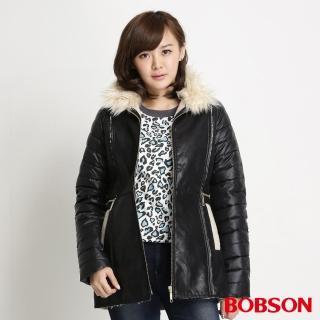 【BOBSON】女款麂皮貼合毛絨外套(黑34113-88)
