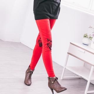 【衣心衣意中大尺碼】可愛狐狸圖印舒適四面彈力內搭褲(黑-紅B8004)