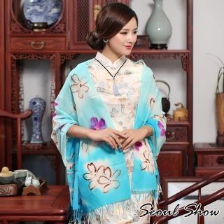 【Seoul Show】60支紗 藍月花語 100%純羊毛印花圍巾保暖披肩(粉藍色)