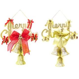【聖誕節裝飾品】12吋聖誕快樂金色英文字牌花鐘吊飾(單入)