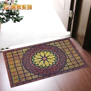 【居家G+】橡膠植絨迎賓戶外地墊腳踏墊(富貴花開款)
