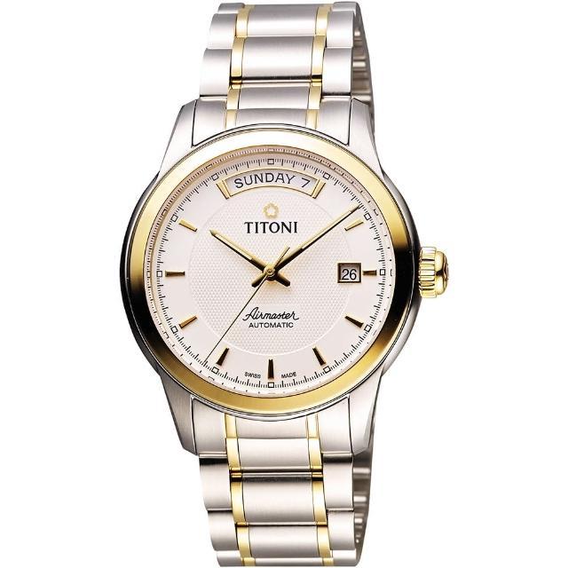 【TITONI】Airmaster sbdc033 開箱時尚Day-Date機械腕錶-銀x雙色版(93933SY-332)