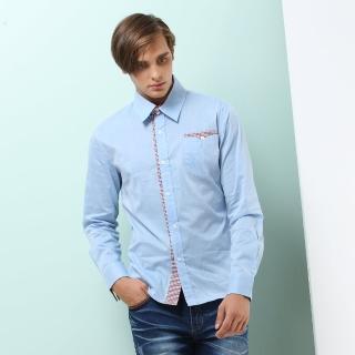 【NBL-NEWBOYLONDON】T0492B淺藍色DB湛青色素面拼接長襯衫