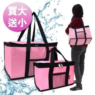 【G+居家】馬卡龍防潑水大容量保溫袋(買大送小優惠組)