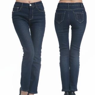 【雪莉亞】日系中高腰刷毛小直筒牛仔褲(牛仔深藍全尺碼)